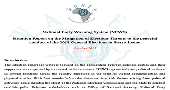 Situation Report On The Mitigation Of Elections Threats To The Peaceful  Conduct Of The 2018 General Elections In Sierra Leone