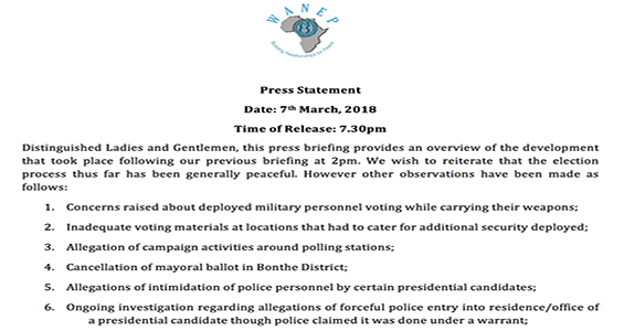 Press statement on sierra leone elections date 7th march 2018 altavistaventures Image collections